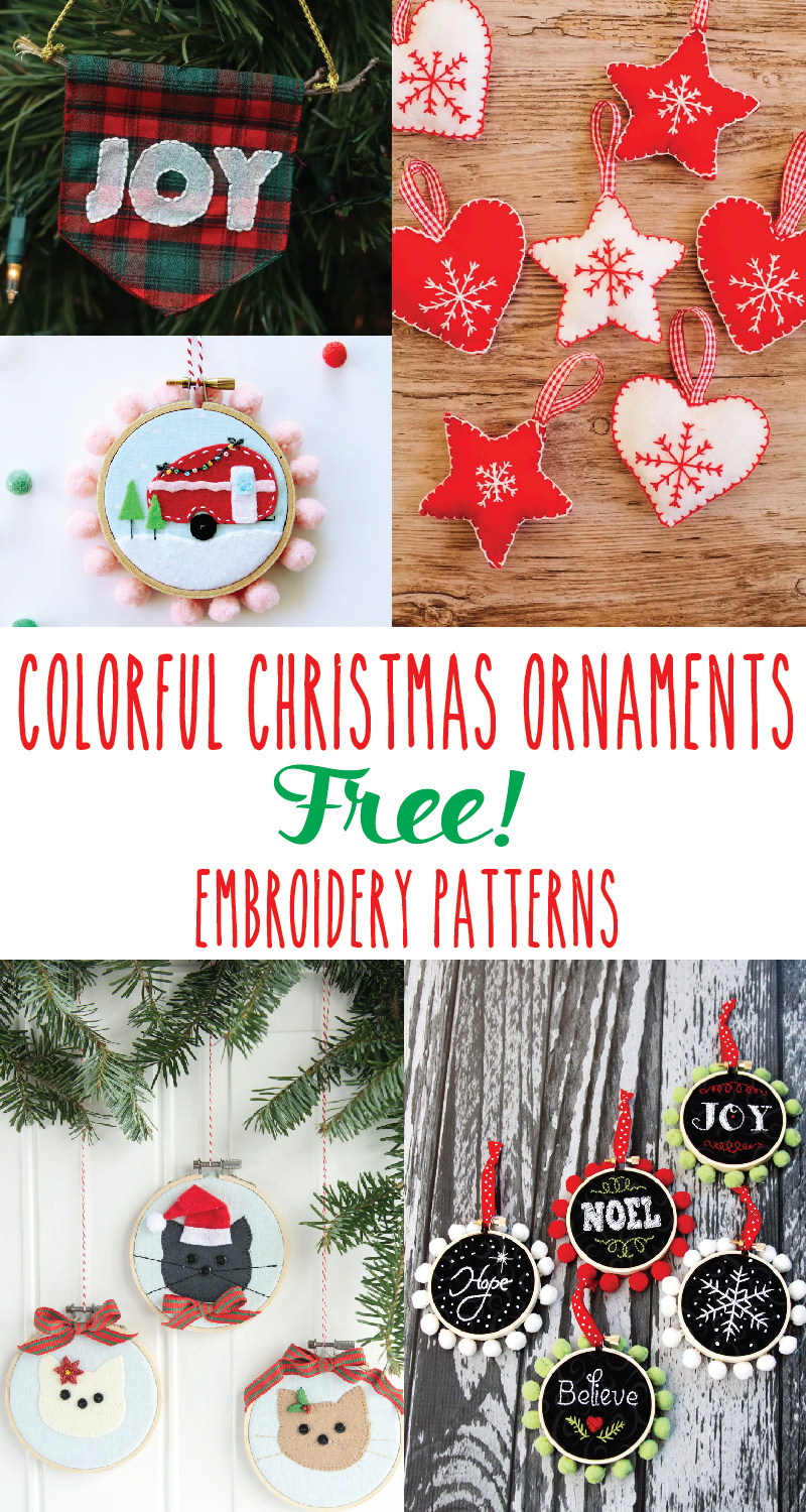 Free Christmas Embroidery Patterns Colorful Christmas Ornament Embroidery Patterns