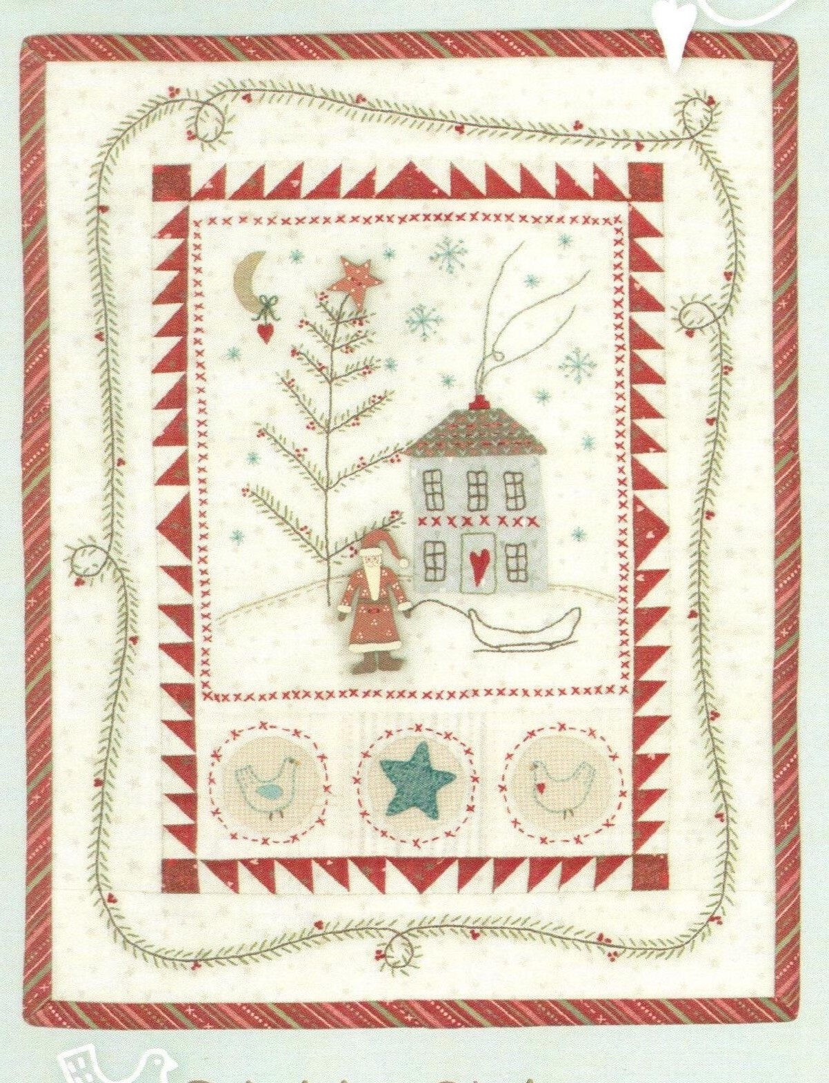 Free Christmas Embroidery Patterns Primitive Christmas Quilt And Embroidery Pattern With Hand Painted Jolly Santa Button Pack
