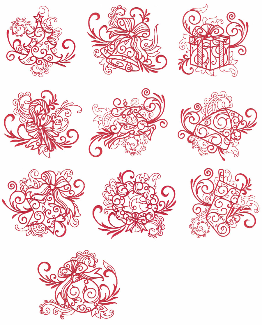 Free Christmas Embroidery Patterns Spectacular Christmas Redwork Embroidery Designs Extremely Free