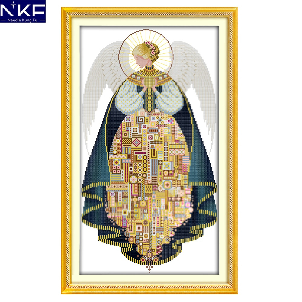 Free Christmas Embroidery Patterns Us 955 48 Offnkf Angel Figure Style Christmas Counted Cross Stitch Patterns Free Chats Designs Needlework Embroidery Kit For Home Decoration In