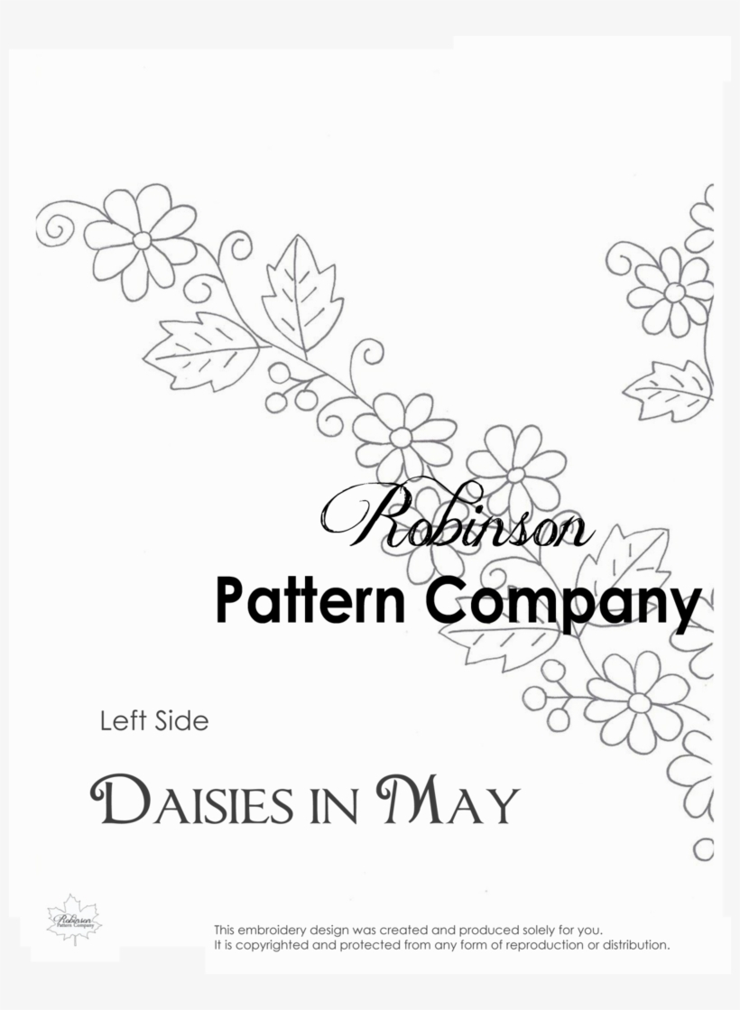 Free Hand Embroidery Pattern Daisies In May Hand Embroidery Pattern Line Art Transparent Png