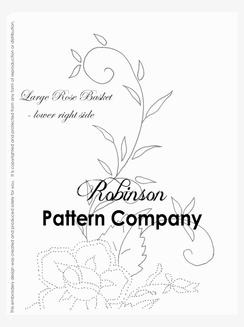 Free Hand Embroidery Pattern Large Rose Basket Hand Embroidery Pattern Bow Hand Embroidery