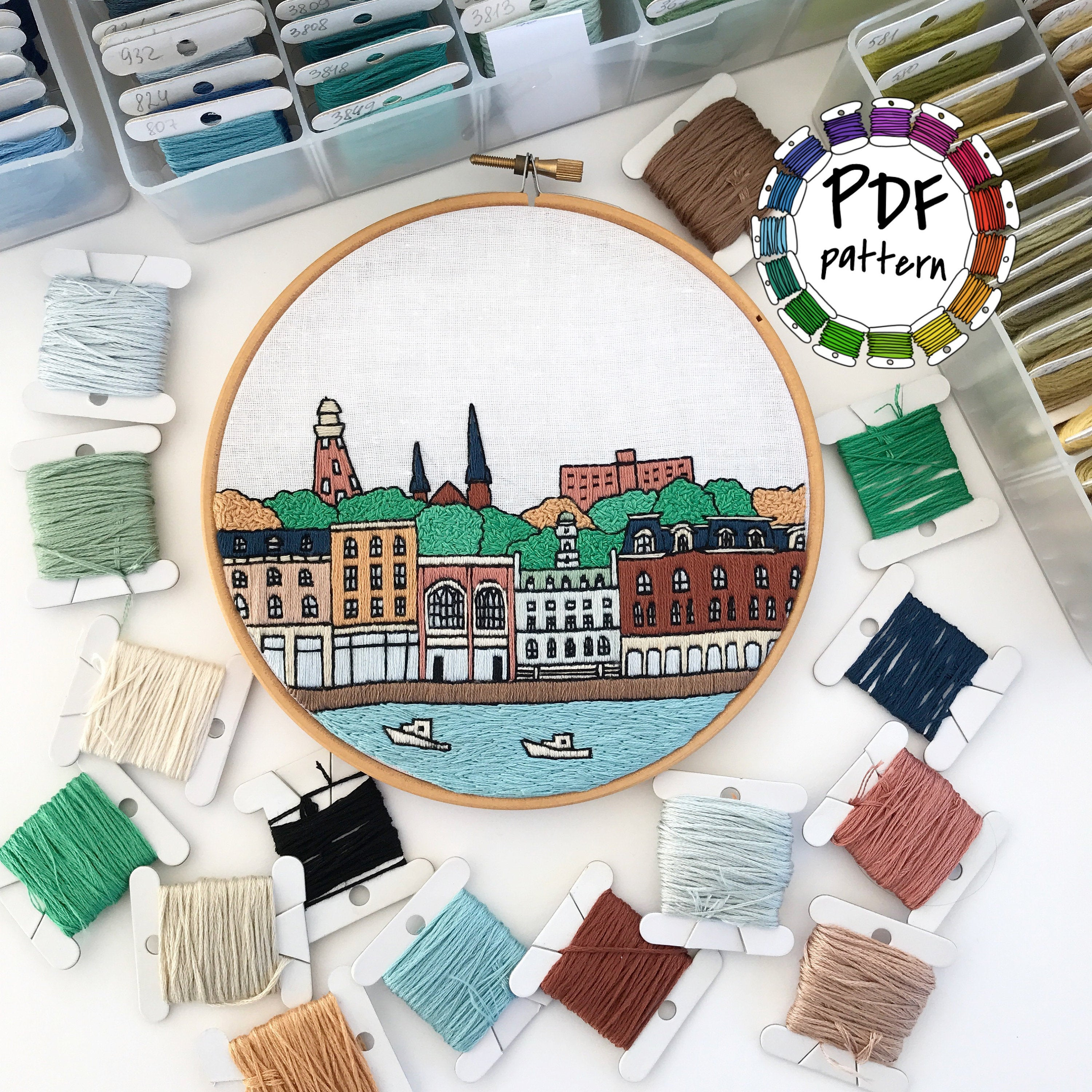 Free Hand Embroidery Pattern Portland Maine Hand Embroidery Pattern Pdf Embroidery Hoop Art Diy Wall Decor Housewarming Gift Free Hand Embroidery Guide