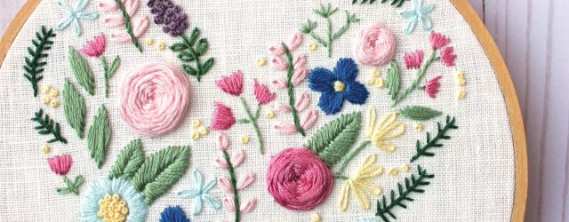 Free Paper Embroidery Patterns And Instructions Floral Heart Hand Embroidery Pattern The Polka Dot Chair