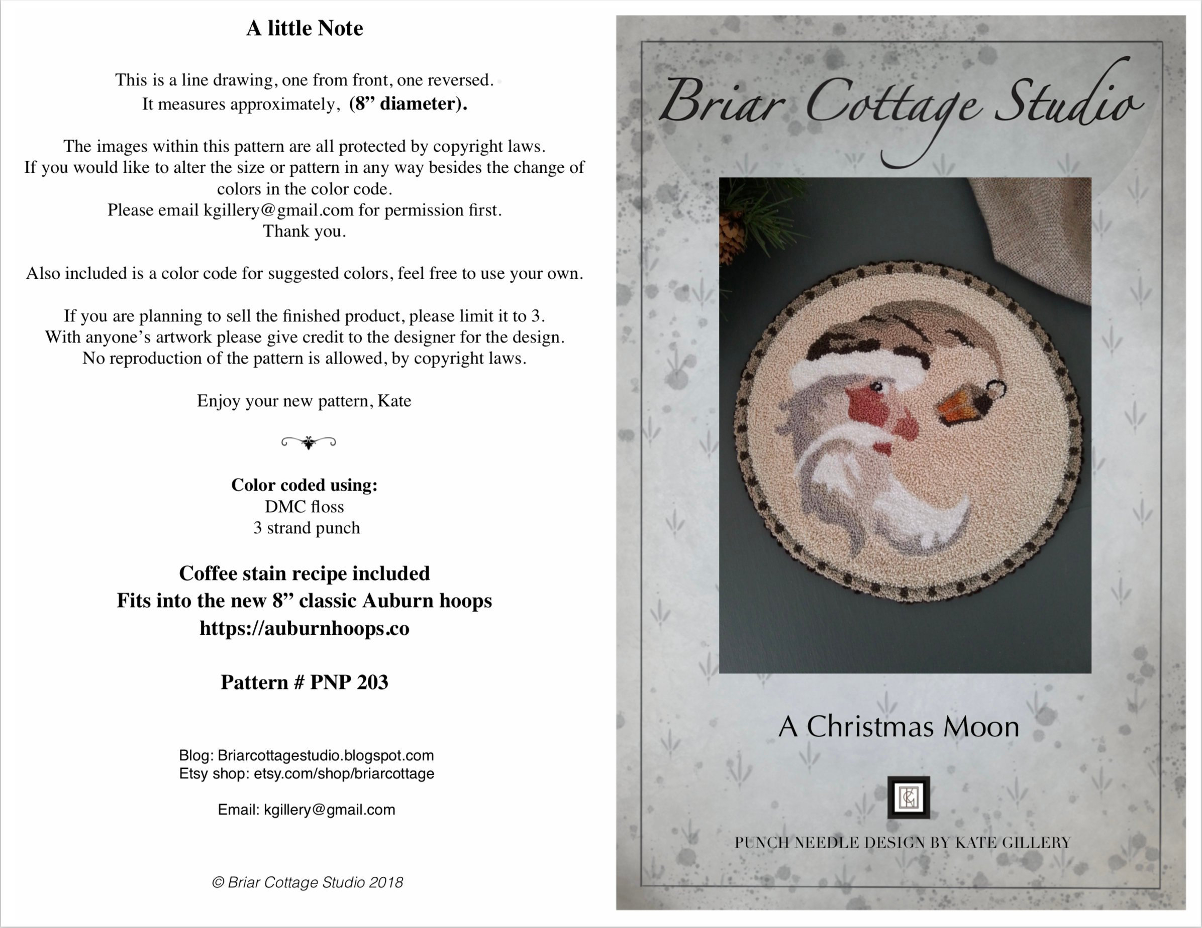 Free Punch Needle Embroidery Patterns Download Punch Needle Embroidery Pattern A Christmas Moon Pnp203 Kate Gillery At Briar Cottage Studio