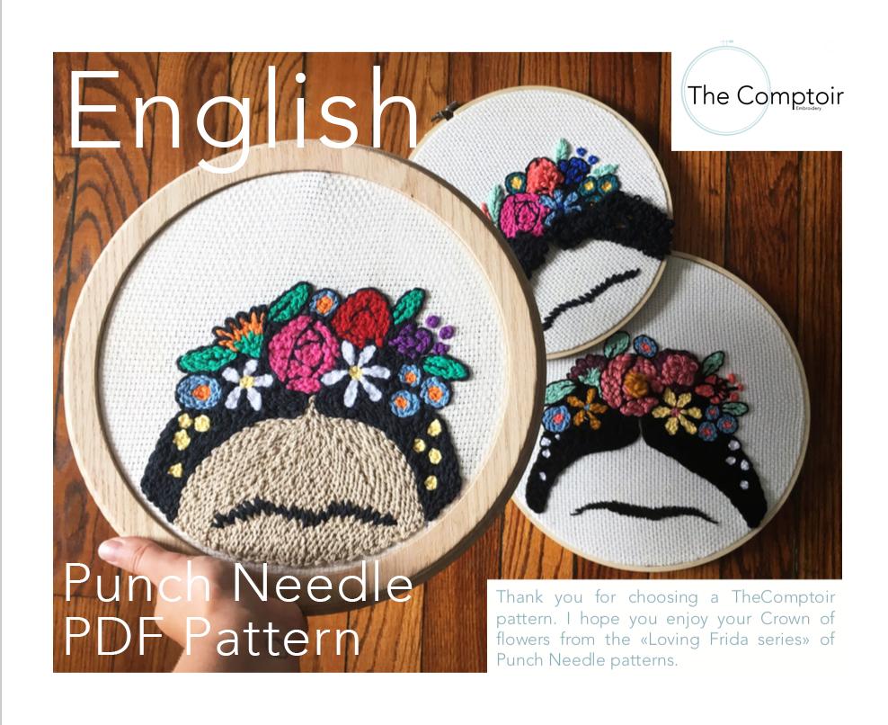 Free Punch Needle Embroidery Patterns Frida Punch Needle Pdf Pattern