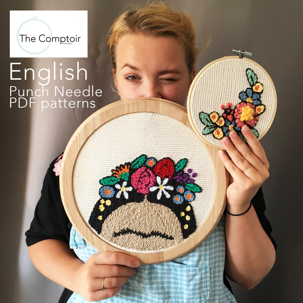 Free Punch Needle Embroidery Patterns Loving Frida Series Set Of 2 Punch Needle Pdf Patterns