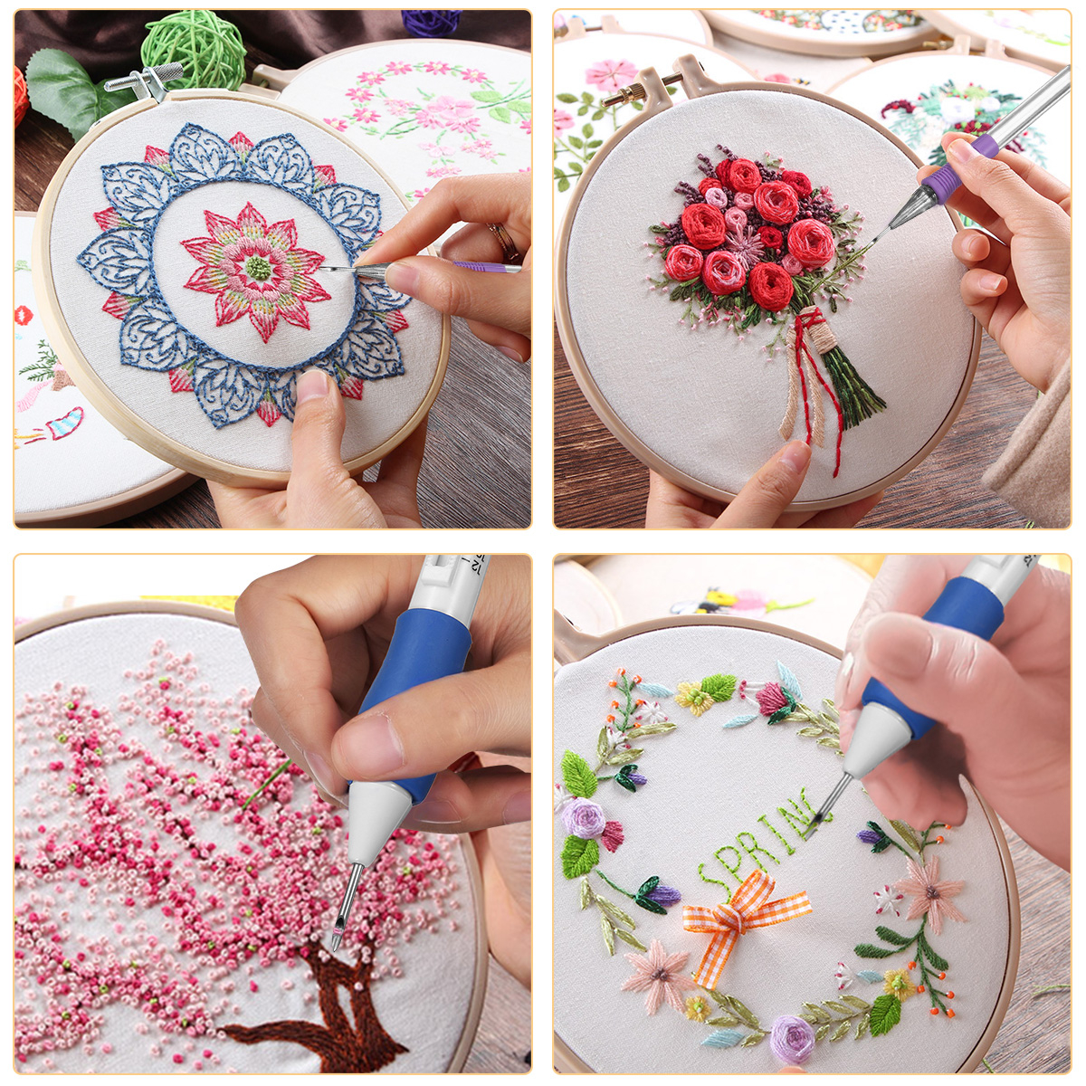 Free Punch Needle Embroidery Patterns Magic Embroidery Pen Punch Needle Set Embroidery Patterns Punch Needle Kit Knitting Sewing Diy Tool