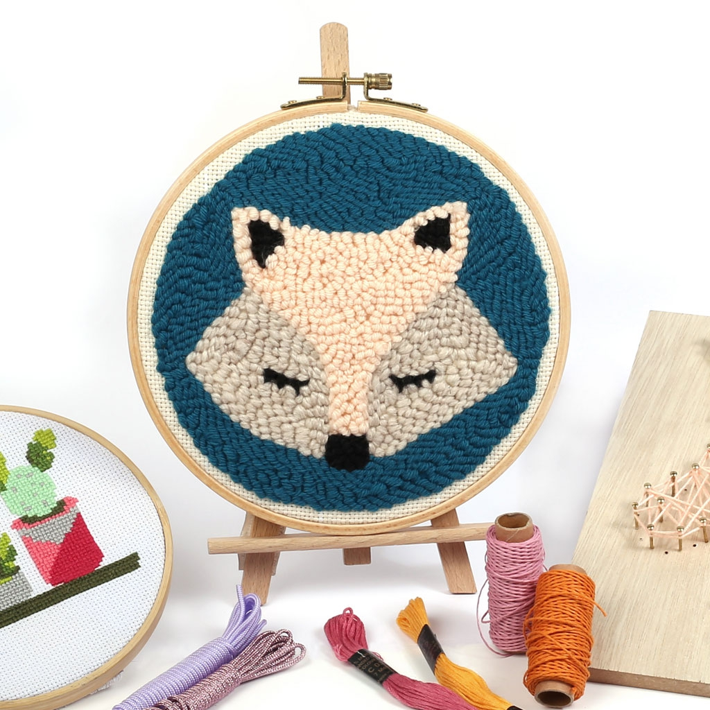 Free Punch Needle Embroidery Patterns Punch Needle Diy Embroidery Kit Fox Pattern 20 Cm X1