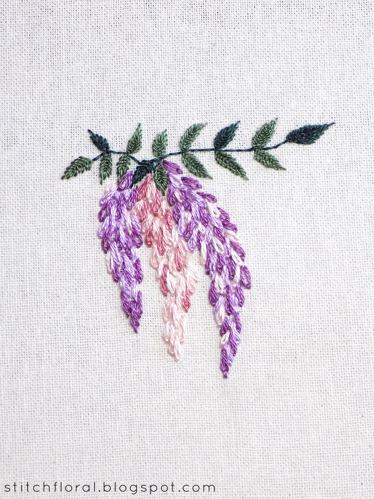 Hand Embroidery Alphabet Patterns Free Hand Embroidered Wisteria Free Pdf Pattern Tutorial Stitch Floral