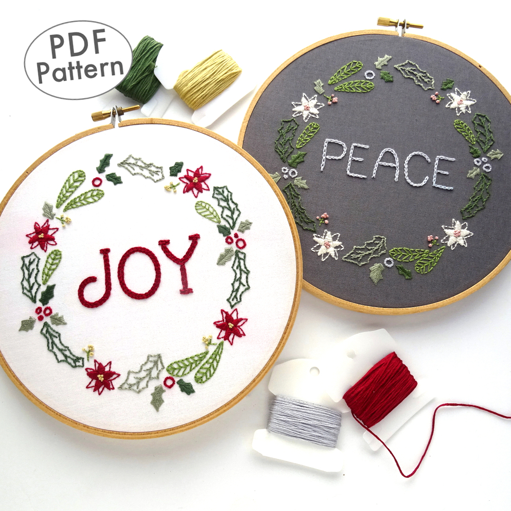 Hand Embroidery Christmas Patterns Christmas Wreath Hand Embroidery Pattern Wandering Threads Embroidery