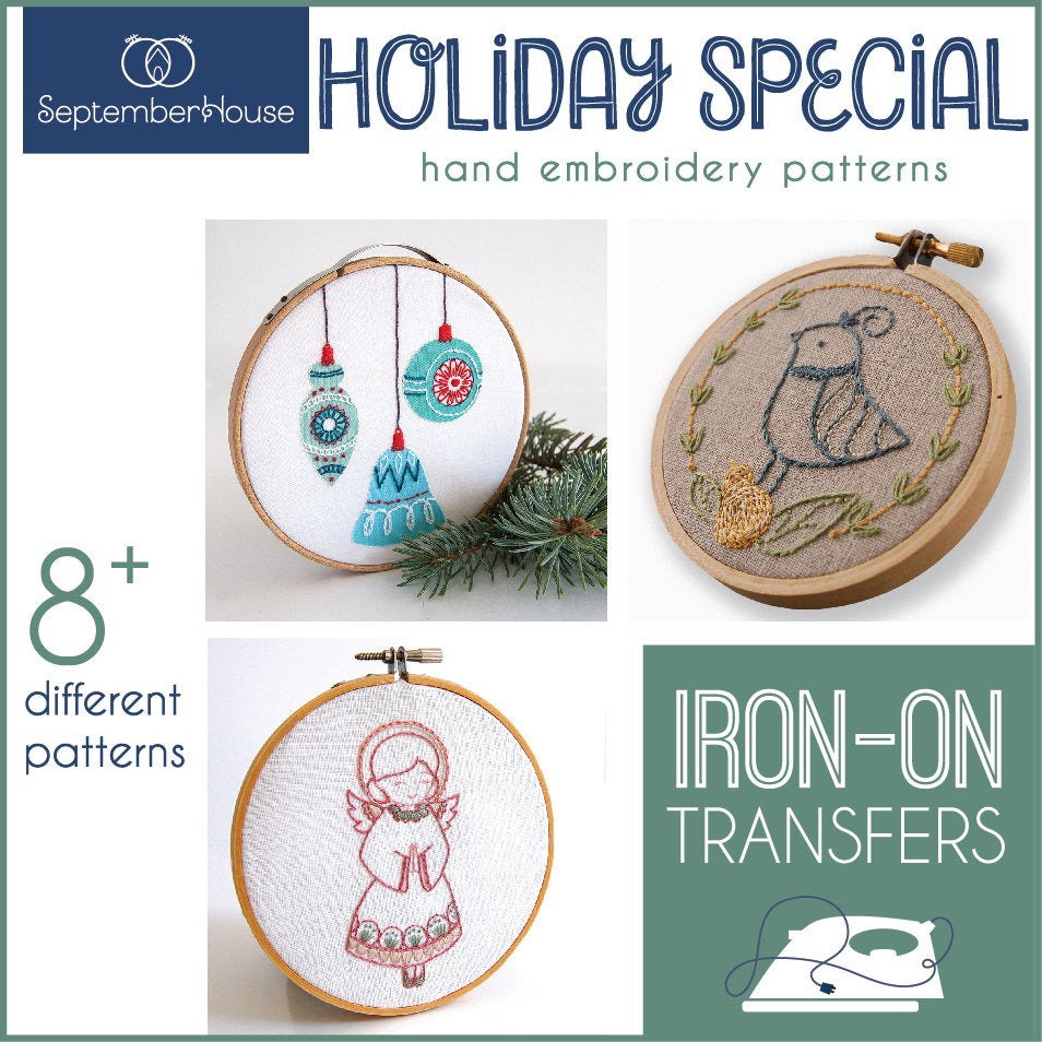Hand Embroidery Christmas Patterns Embroidery Patterns Holiday Special Iron On Transfers For Hand Etsy