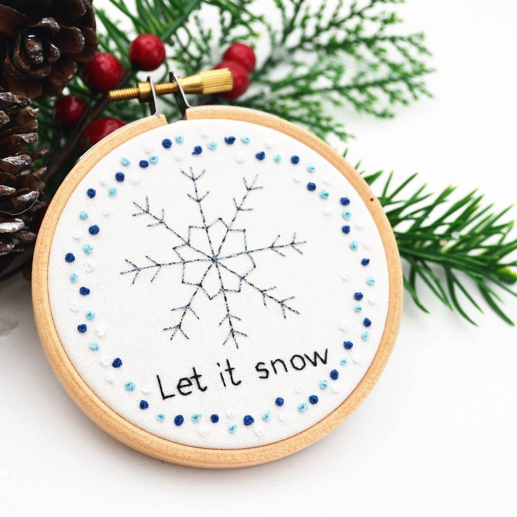 Hand Embroidery Christmas Patterns Hand Embroidery Snowflake Christmas Decoration Pixiecraft