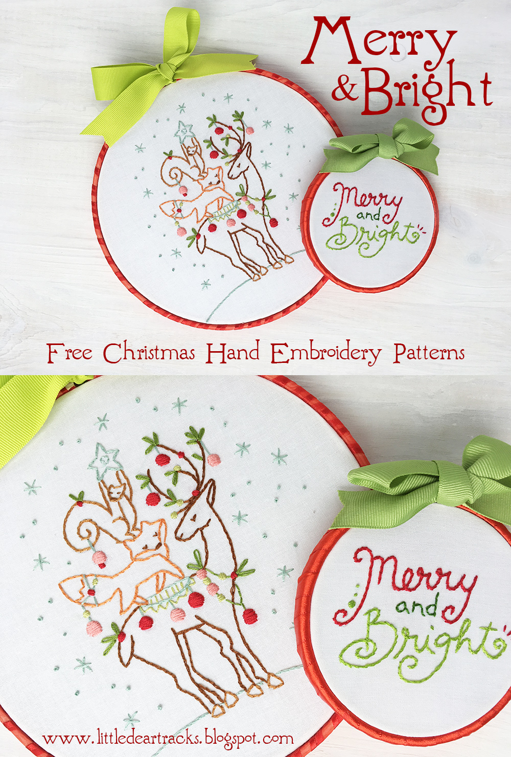 Hand Embroidery Christmas Patterns Little Dear Tracks Free Christmas Embroidery Patterns