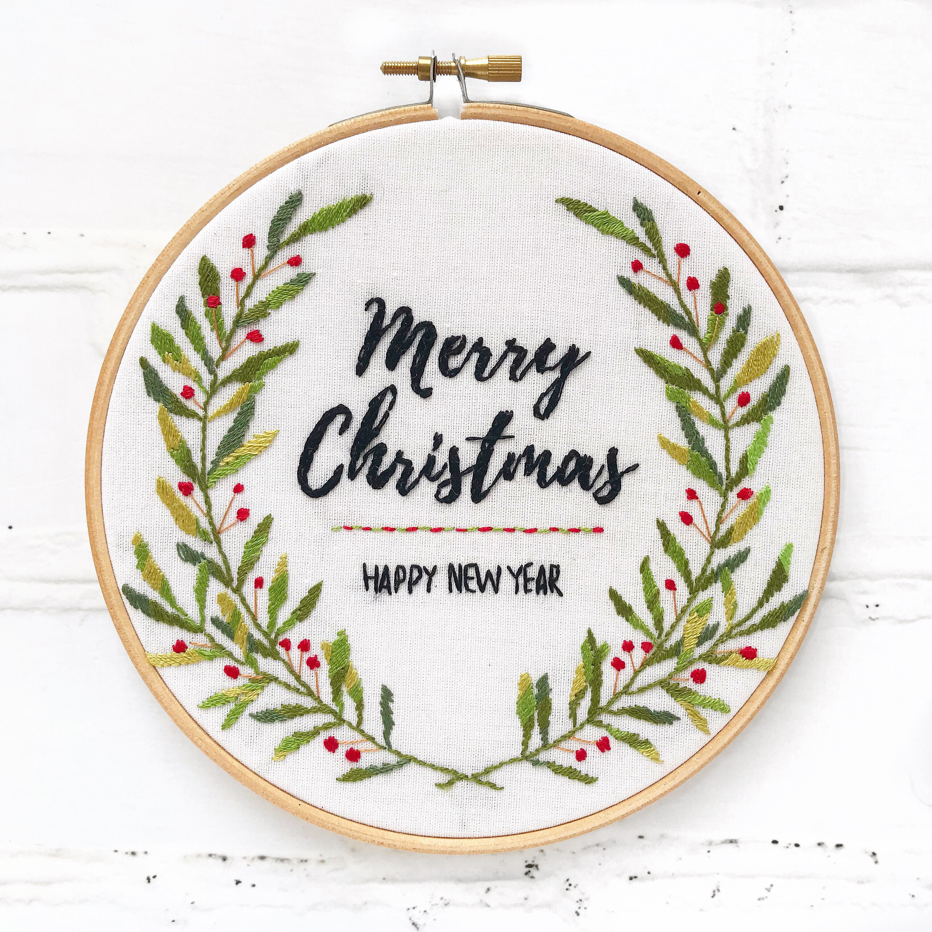 Hand Embroidery Christmas Patterns Merry Christmas Hand Embroidery Hoop Bustle Sew
