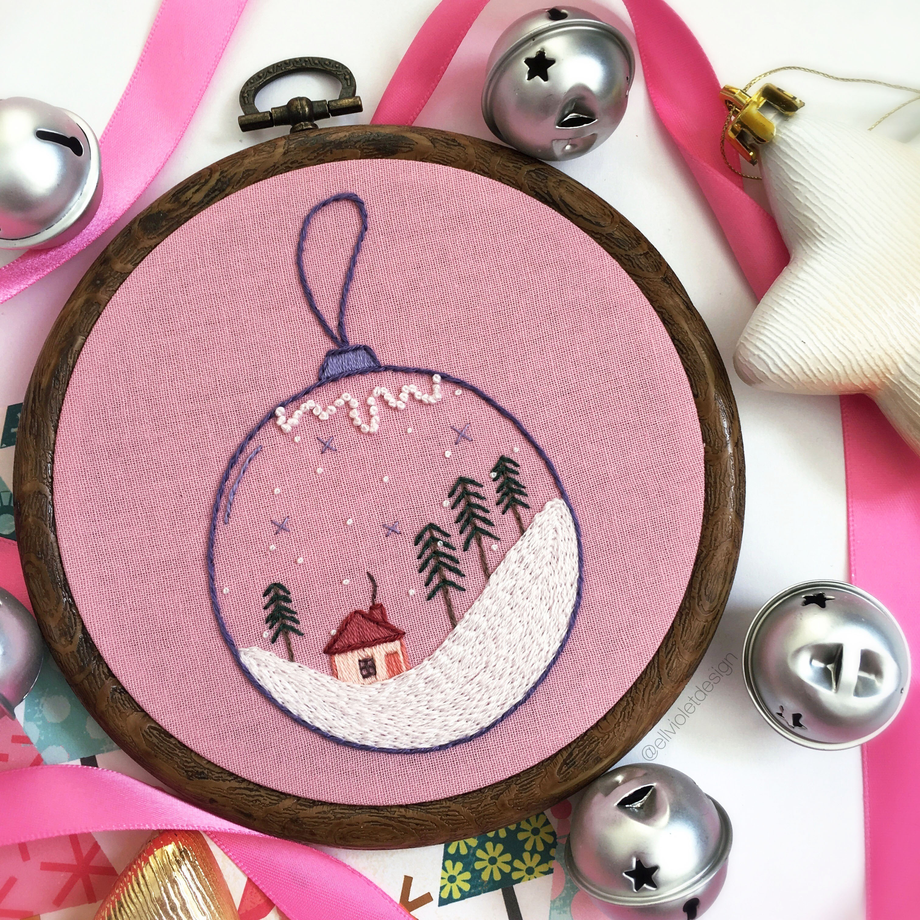 Hand Embroidery Christmas Patterns Pastel Christmas Bauble Ornament Hand Embroidery Pattern