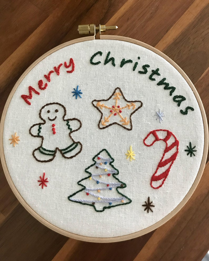 Hand Embroidery Christmas Patterns Pdf Download Christmas Hand Embroidery Pattern Etsy
