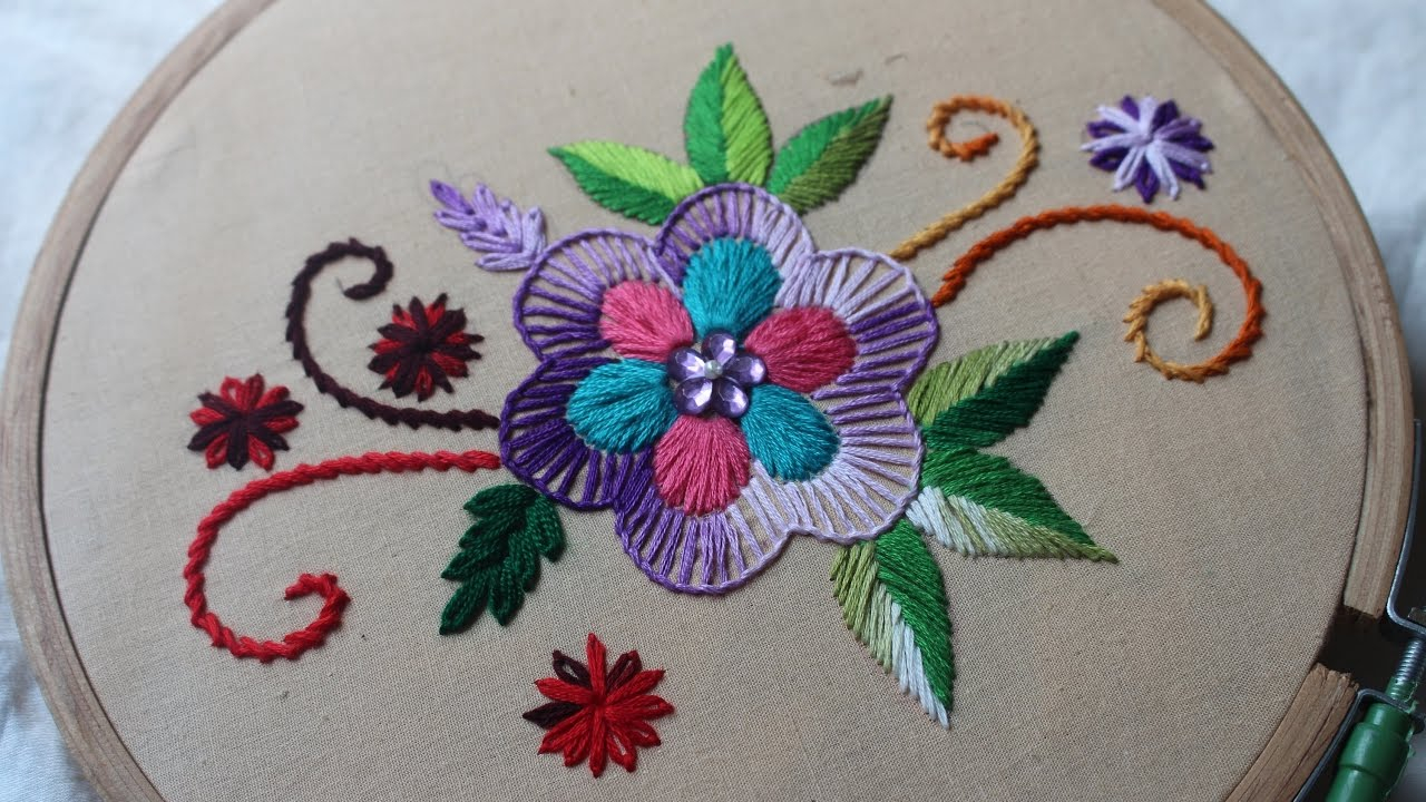 How To Design Embroidery Patterns By Hand Hand Embroidery Designs Basic Design Tutorial Stitch And Flower 135