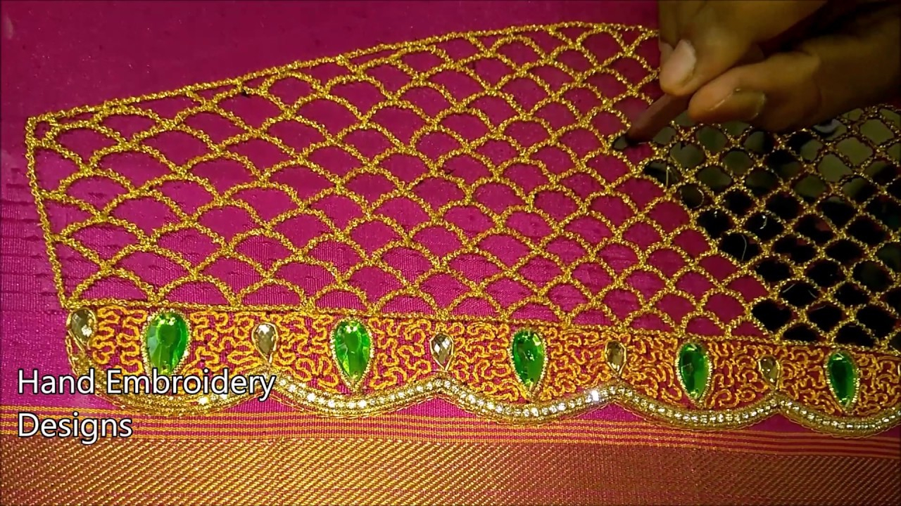 How To Design Embroidery Patterns By Hand Simple Maggam Work Blouse Designs Hand Embroidery Designs