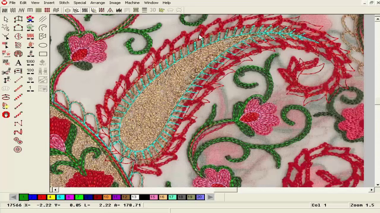 How To Design Embroidery Patterns For Machine Computer Embroidery Design Embroidery Machine Work Pat 74