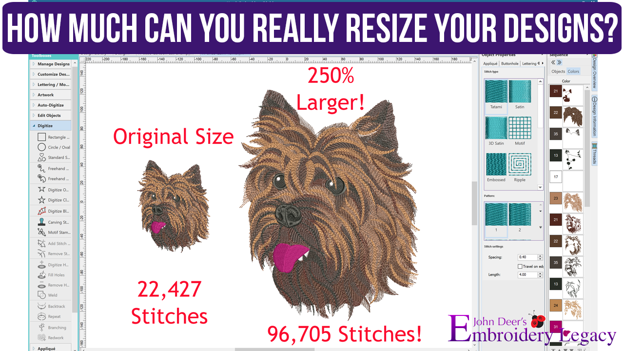 How To Design Embroidery Patterns For Machine Rules For Resizing Machine Embroidery Designs How To Guide