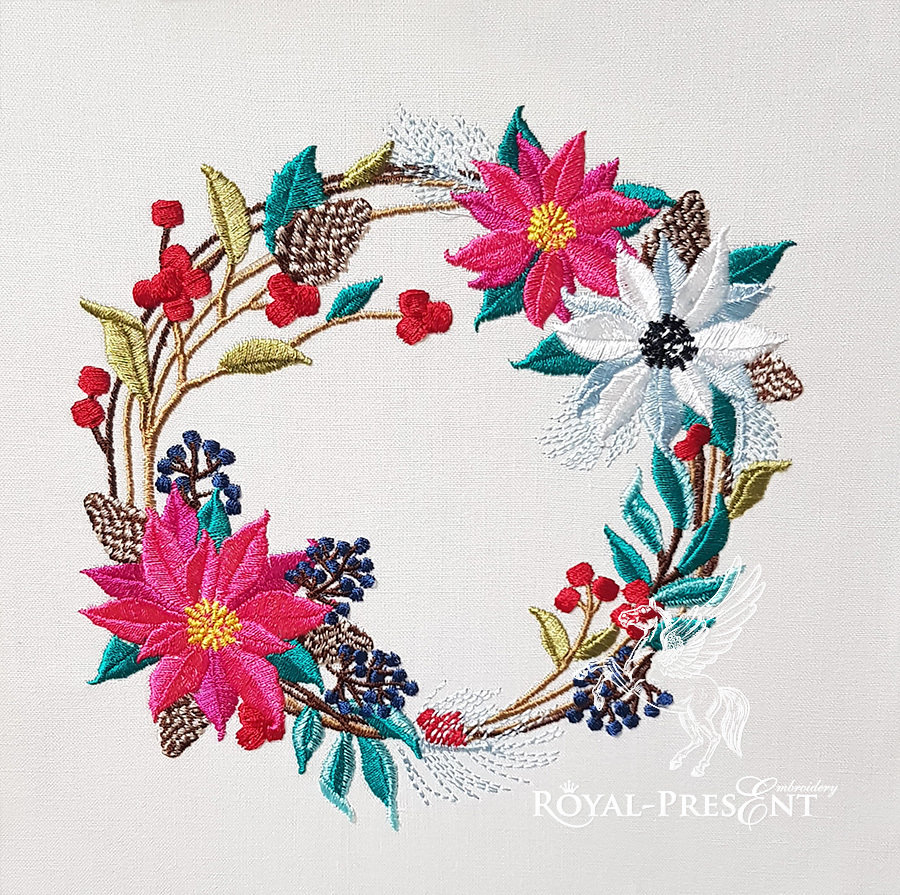 How To Design Embroidery Patterns For Machine Winter Floral Wreath Embroidery Design 3 Sizes