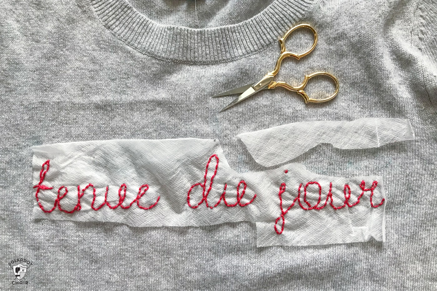 How To Make An Embroidery Pattern Diy Embroidered Sweater Tutorial The Polka Dot Chair