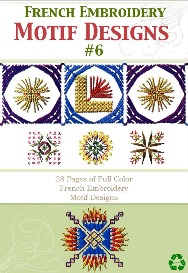 How To Read Embroidery Patterns 28 Pages Of French Full Color Hand Embroidery Motif Patterns 6 Rare Printable Or Read On Your Ipad Or Tablet Instant Download