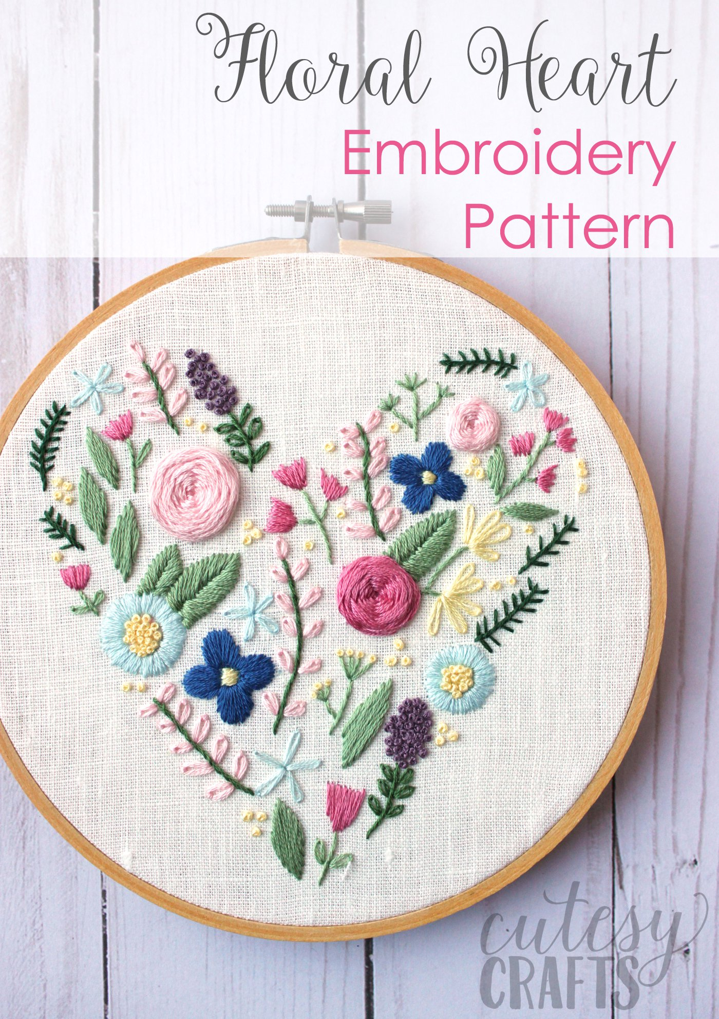 How To Read Embroidery Patterns Floral Heart Hand Embroidery Pattern The Polka Dot Chair