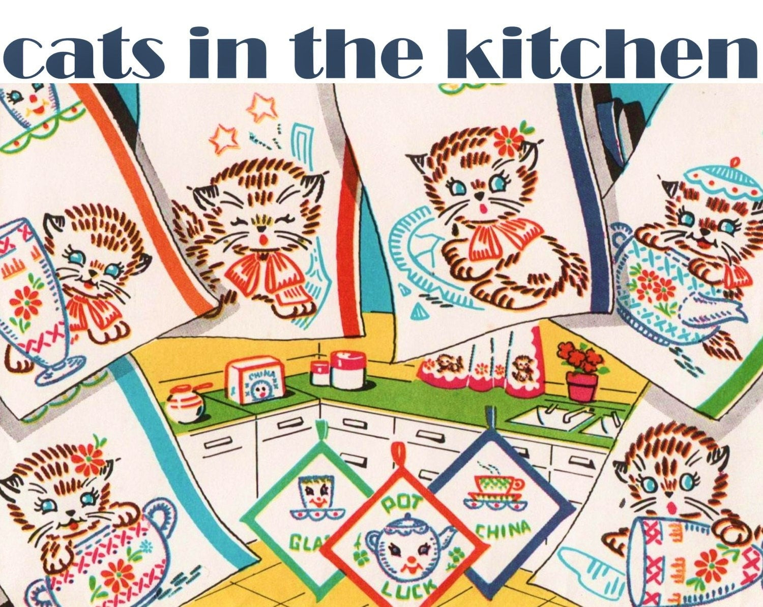 Kitchen Towel Embroidery Patterns Cats In The Kitchen Vogart 694 Pdf Download Embroidered Cats Kitchen Cats Kitchen Towels Pattern Vintage Tea Towel Embroidery Pattern