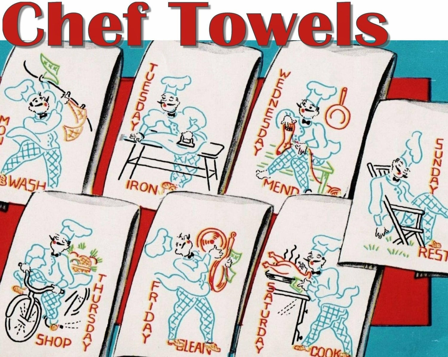 Kitchen Towel Embroidery Patterns Chef Towels Vintage Kitchen Towel Embroidery Pattern Vogart 654 Pdf Instant Download Day Of The Week Towels Vintage Tea Towel Embroidery