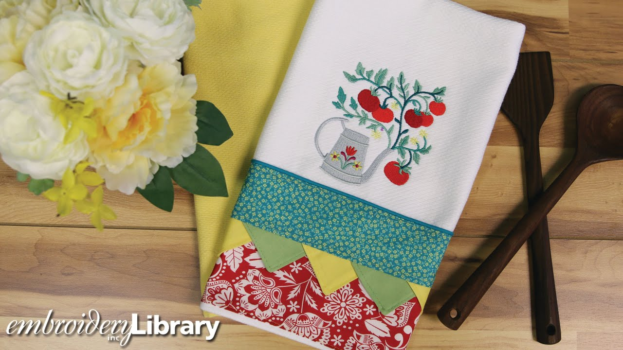 Kitchen Towel Embroidery Patterns Embroidered Tea Towel With Bunting