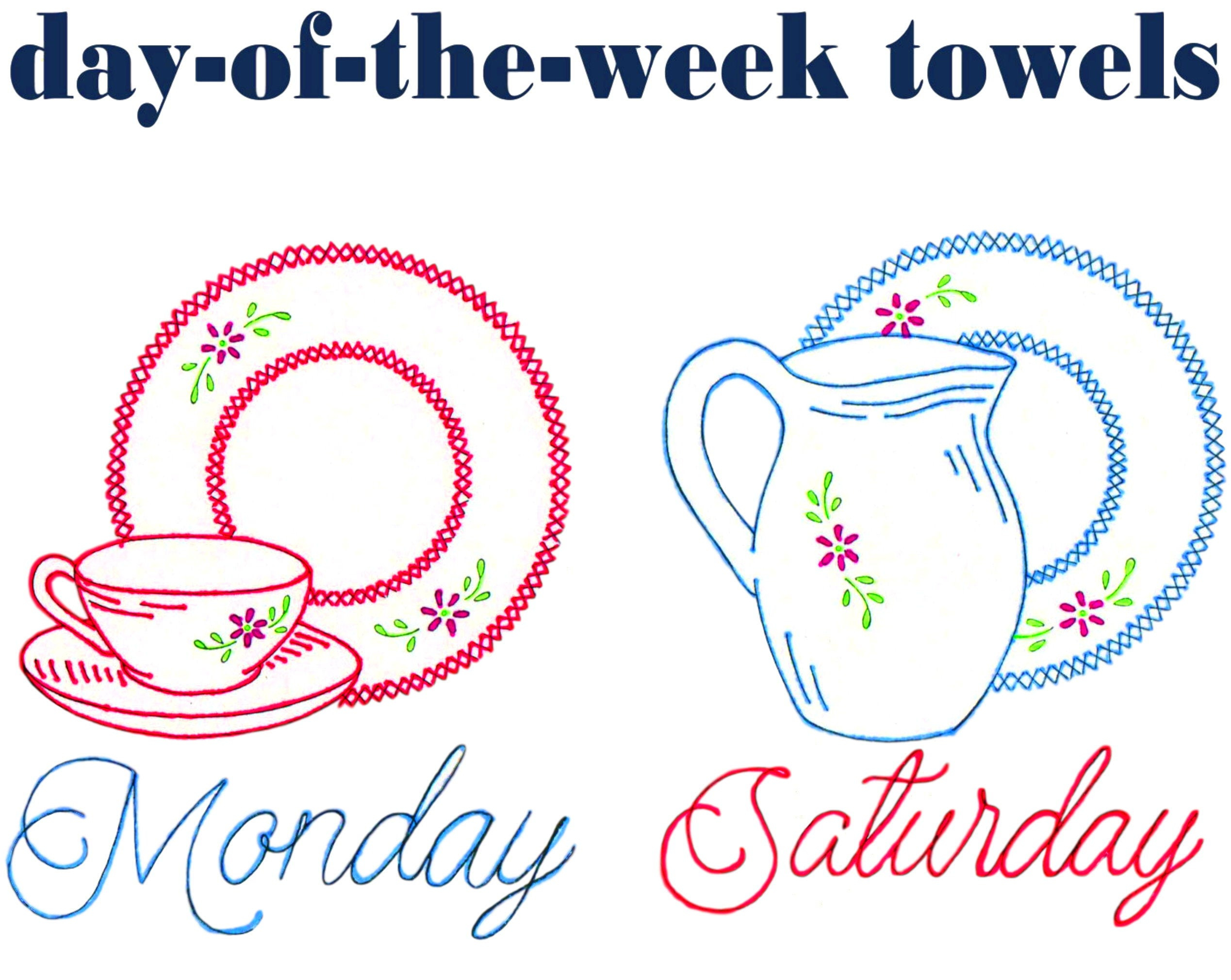 Kitchen Towel Embroidery Patterns Embroidery Dishes Tea Towel Designs Day Of The Week Towels Pdf Download Vintage Embroidery Designs Cross Stitch Dishes Flour Sack Towels