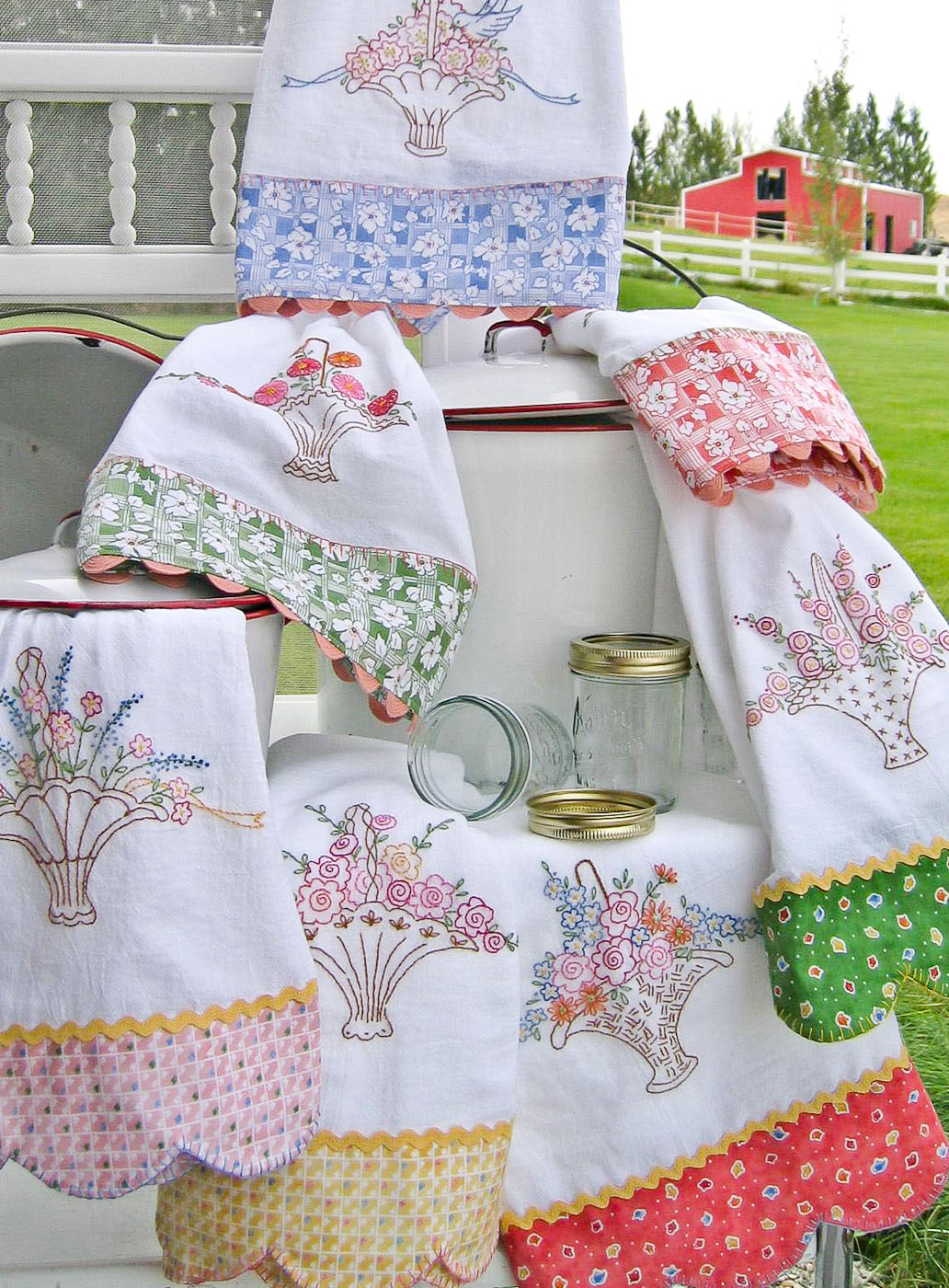 Kitchen Towel Embroidery Patterns Hand Embroidery Pattern Grandmas Tea Towels