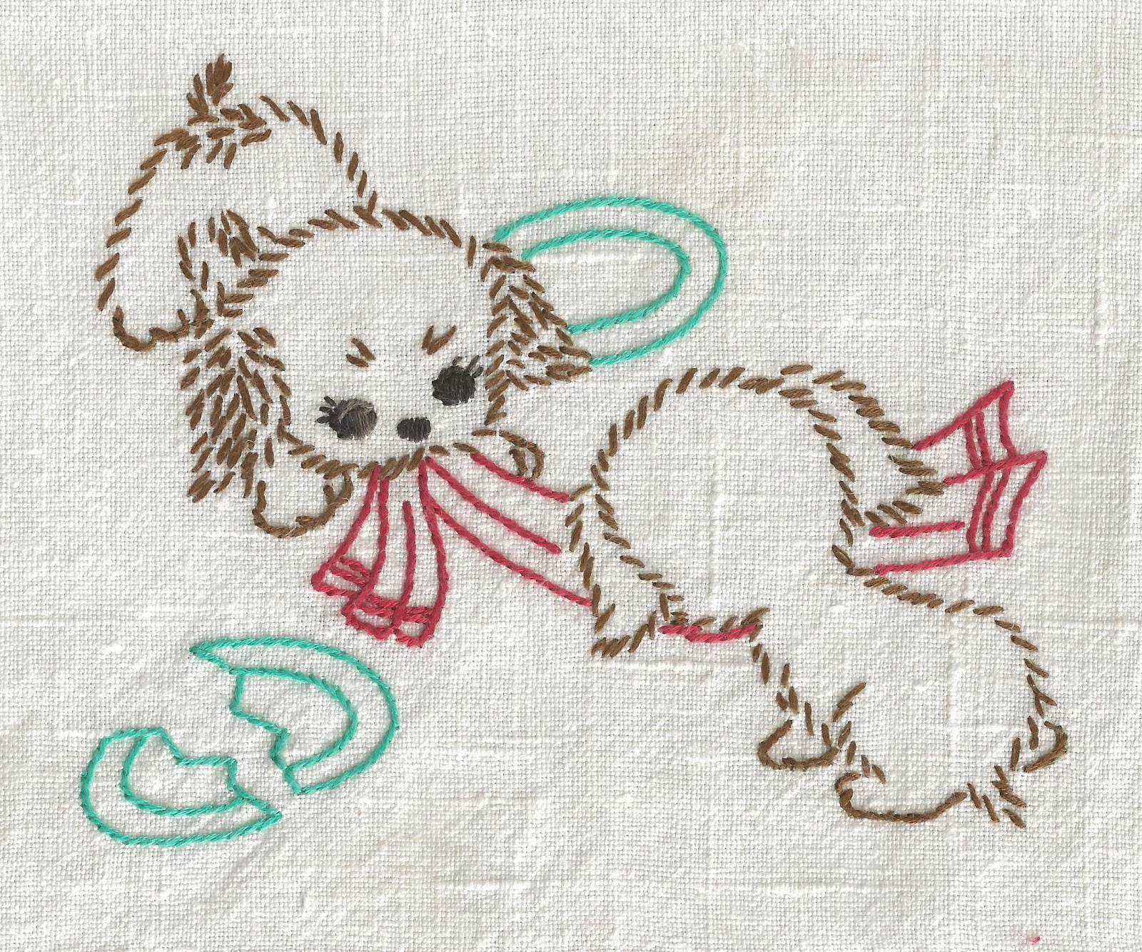 Kitchen Towel Embroidery Patterns Vintage Puppy Dog Tea Towel Embroidery Its My Cake