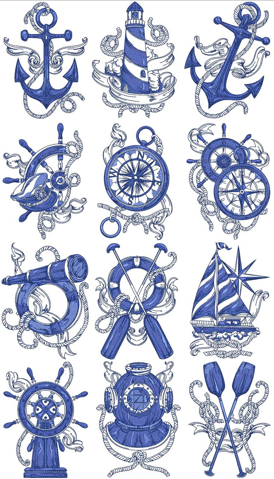 Nautical Embroidery Patterns Chevron Nautical