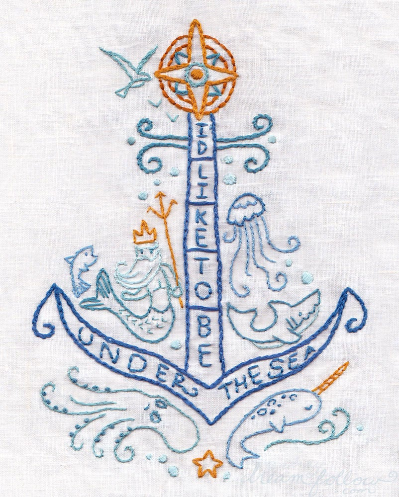 Nautical Embroidery Patterns Diy Under The Sea Pdf Embroidery Pattern Nautical Mermaid Decor Narwhal Octopus Hand Embroidery Patterns Embroidery Designs