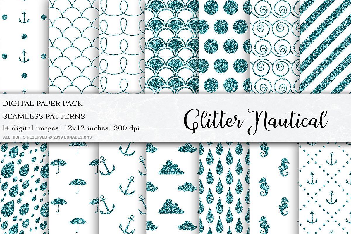 Nautical Embroidery Patterns Glitter Nautical Digital Papers Glitter Patterns Nautical