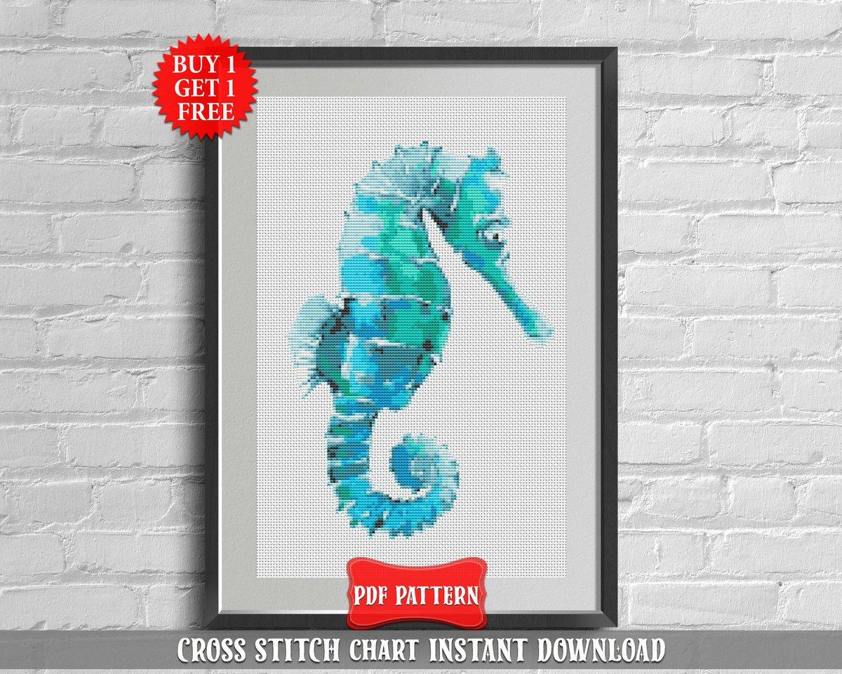 Nautical Embroidery Patterns Marianna On Twitter Seahorse Cross Stitch Pattern Modern