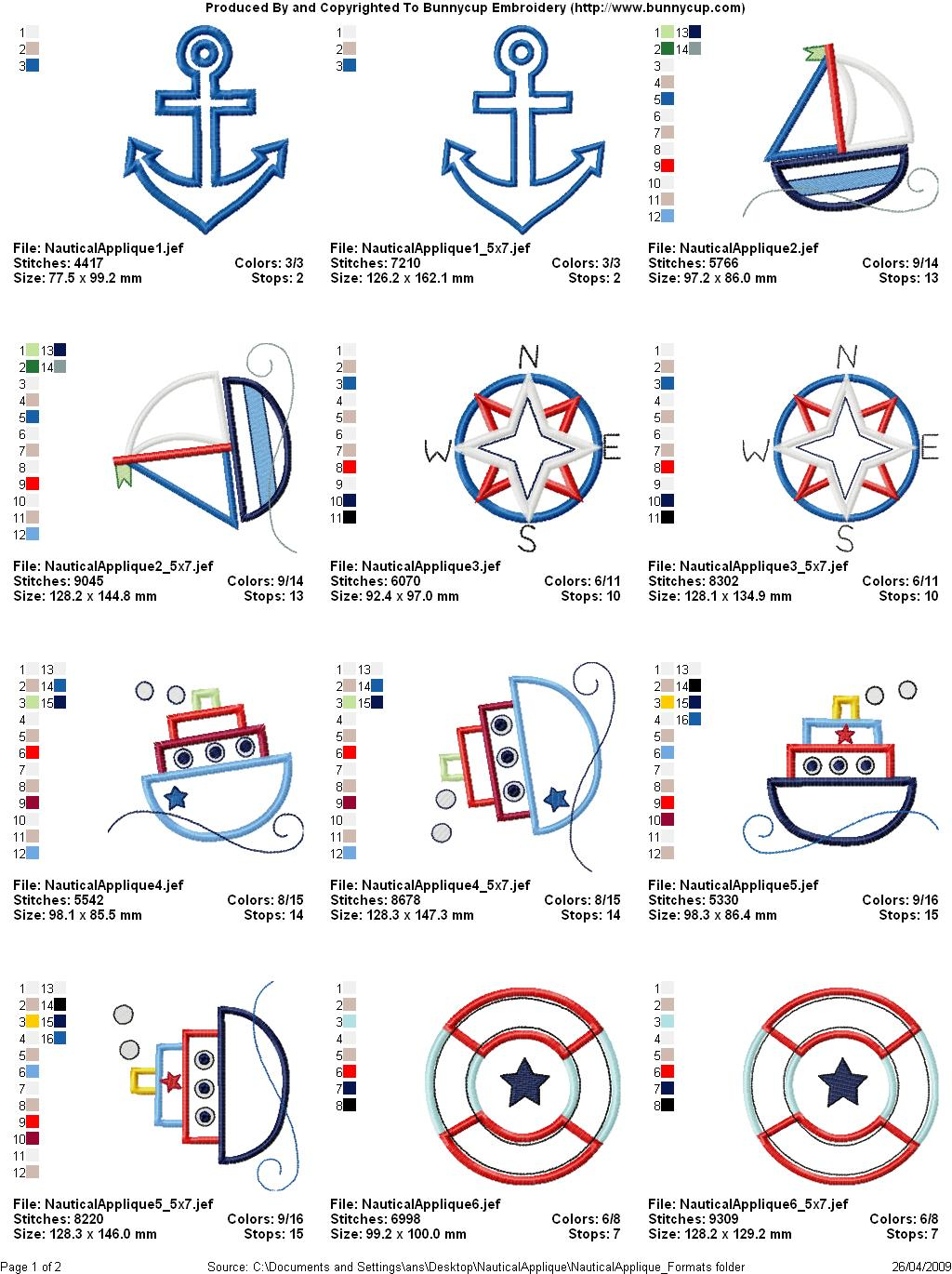 Nautical Embroidery Patterns Nautical Applique Applique Embroidery Designs Bunnycup Embroidery