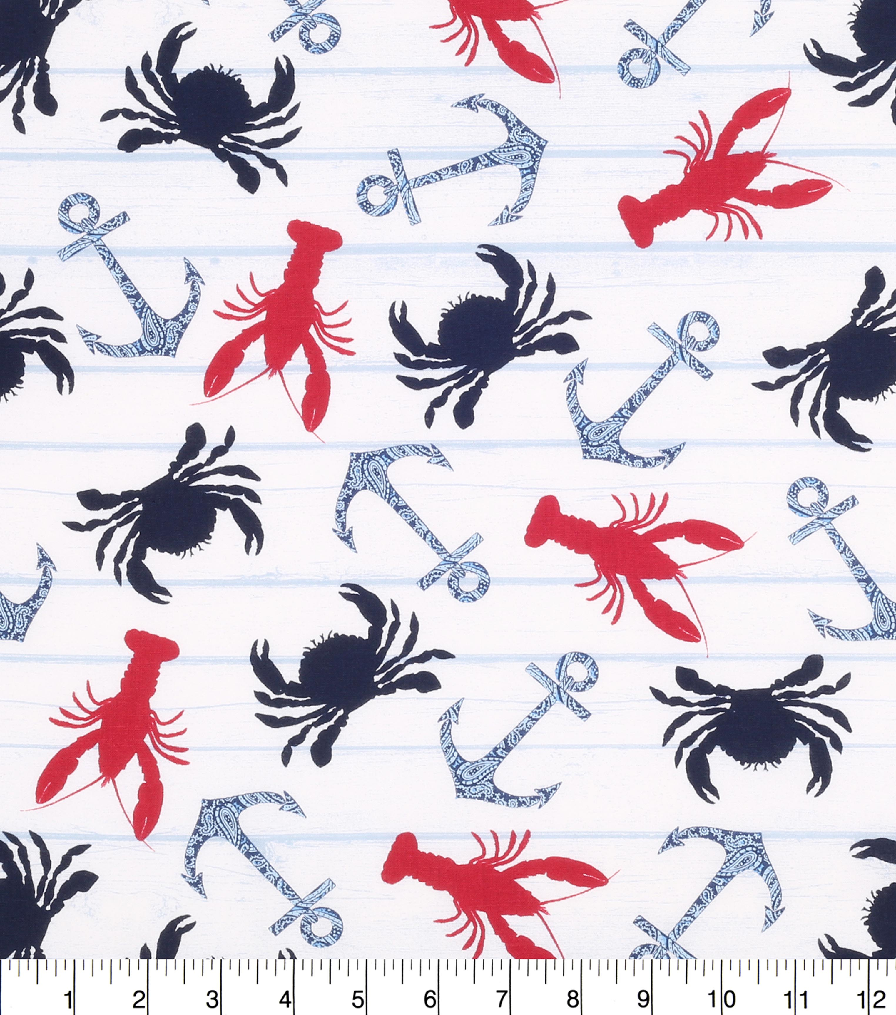 Nautical Embroidery Patterns Nautical Cotton Fabric Crab And Paisley Anchor