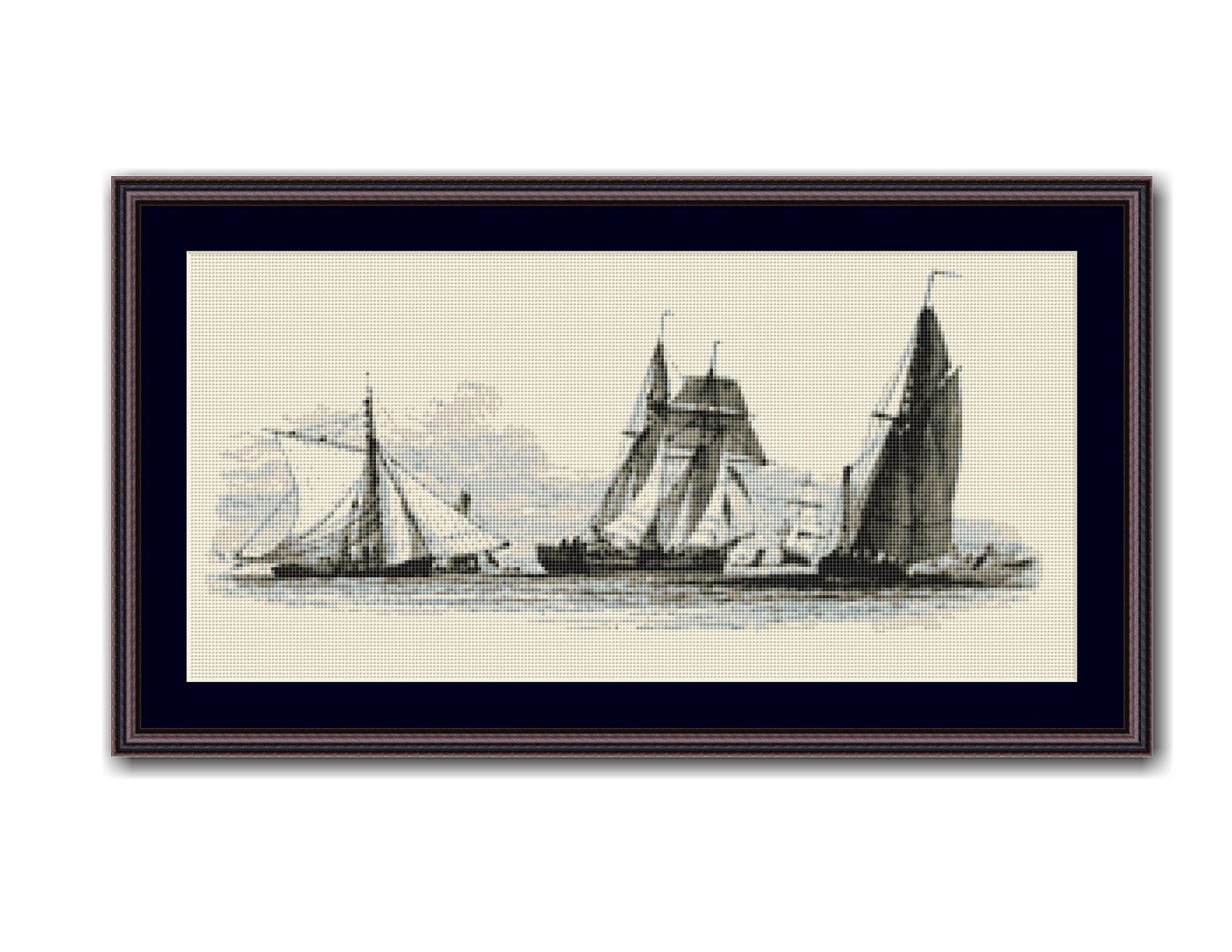 Nautical Embroidery Patterns Smack Schooner Barge Counted Cross Stitch Pattern Chart Nautical Instant Digital Download Ap409