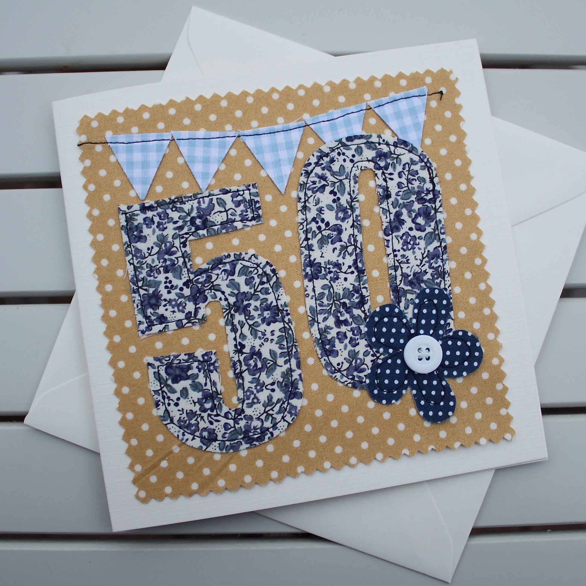 Paper Embroidery Cards Free Patterns 50th Birthday Card Handmade Original Fabric Embroidered Card