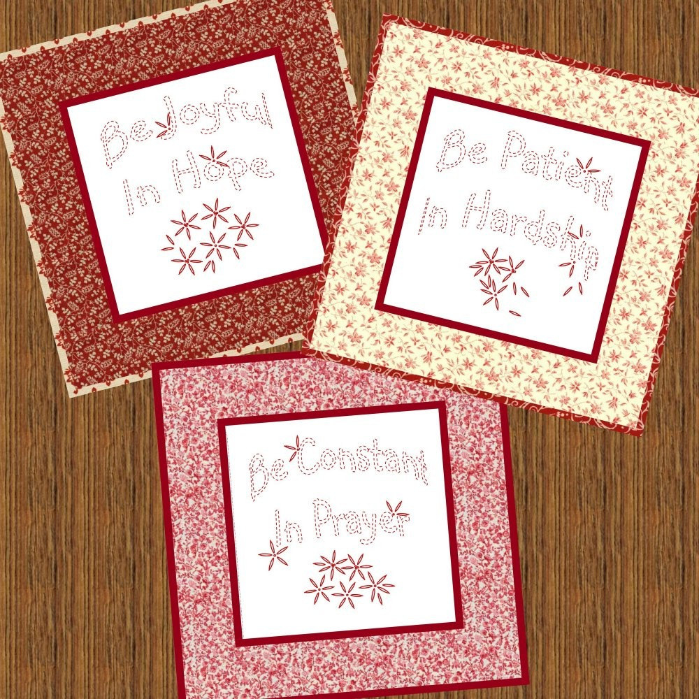 Paper Embroidery Cards Free Patterns Be Joyful Hand Embroidery Pattern Printable Download Pdf Diy Simple Free Shipping Easy To Do Redwork Primitive Christian Home Decor