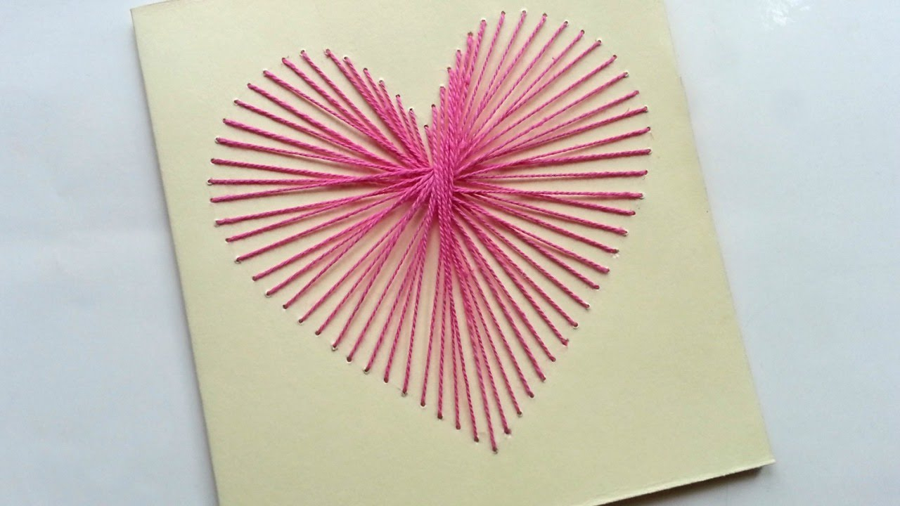 Paper Embroidery Cards Free Patterns How To Create A Beautiful String Art Heart Card Diy Crafts Tutorial Guidecentral