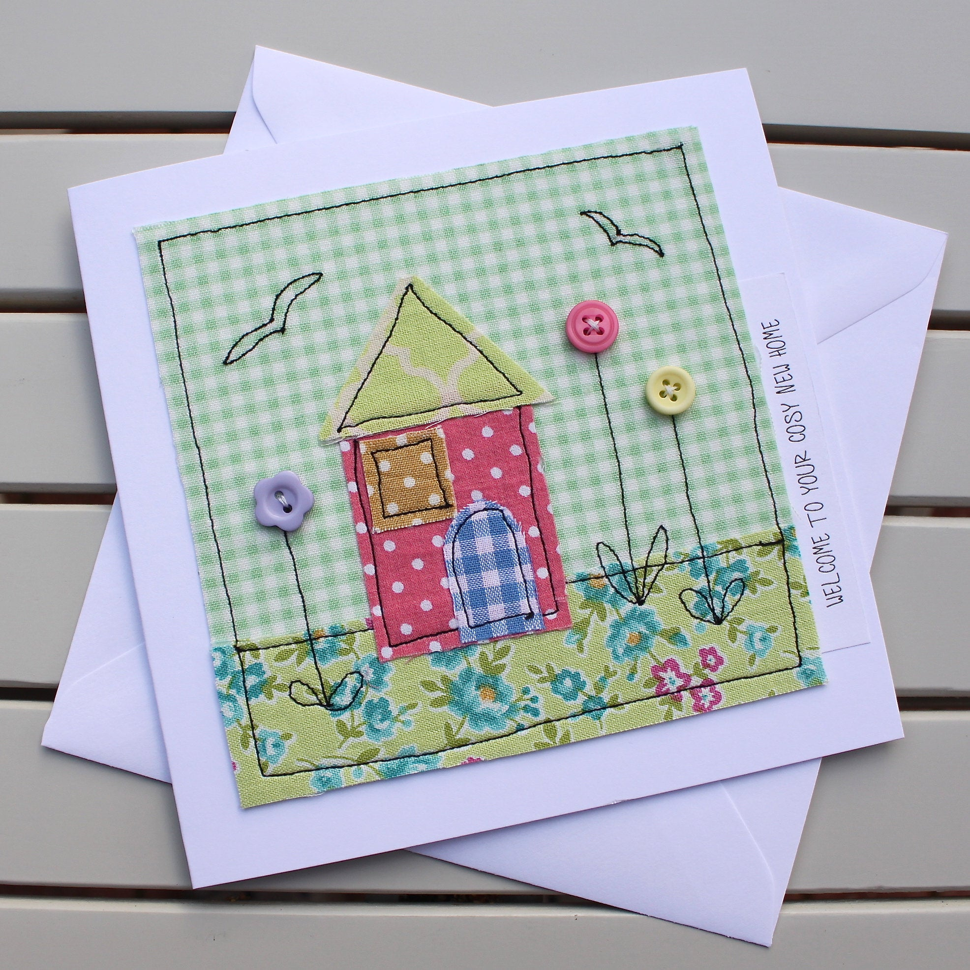Paper Embroidery Cards Free Patterns New Home Card Handmade Original Fabric Embroidered Card