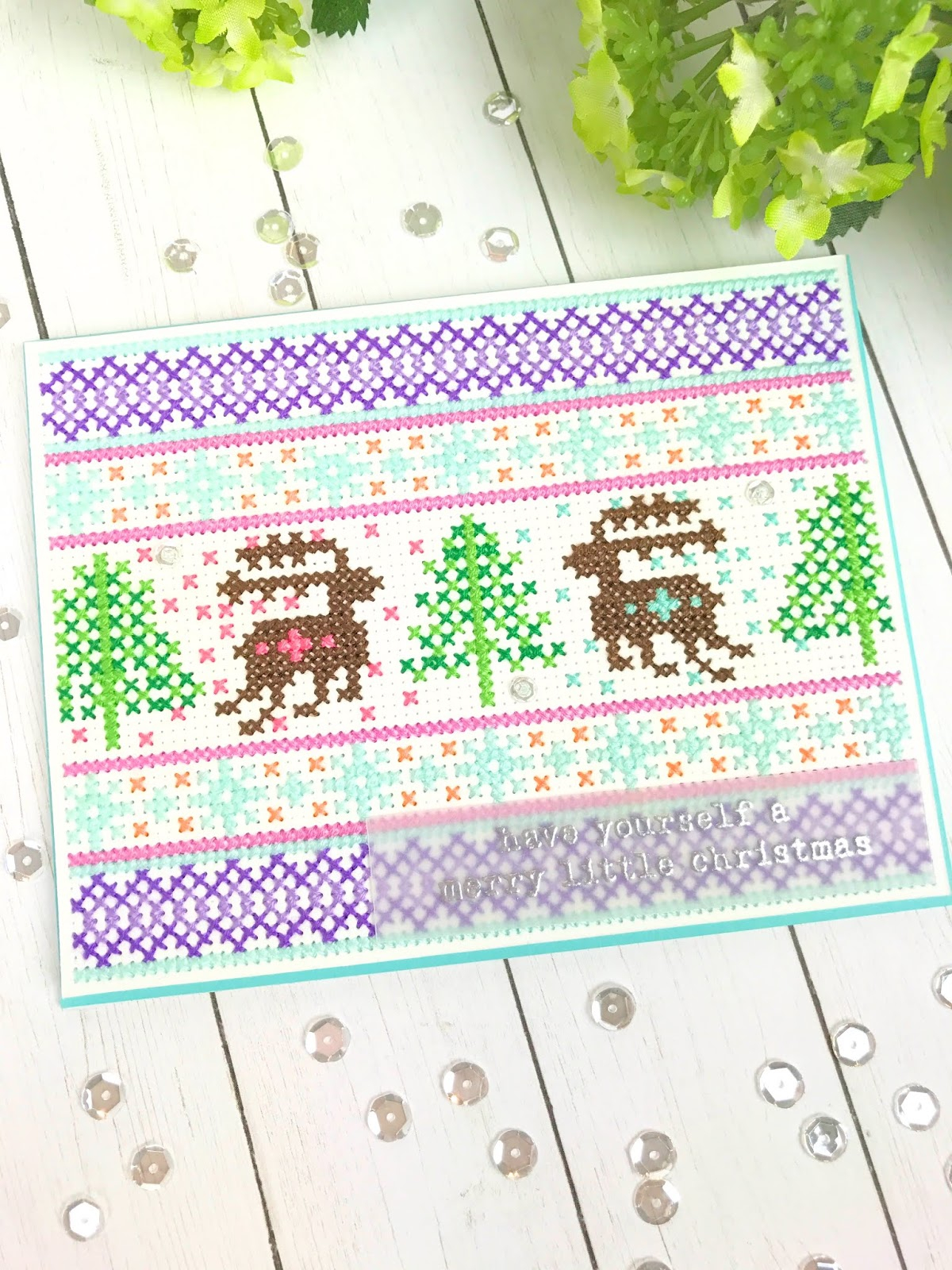 Paper Embroidery Cards Free Patterns Nordic Deer Cross Stitch Card On Altenew Cross Stitch Canvas With