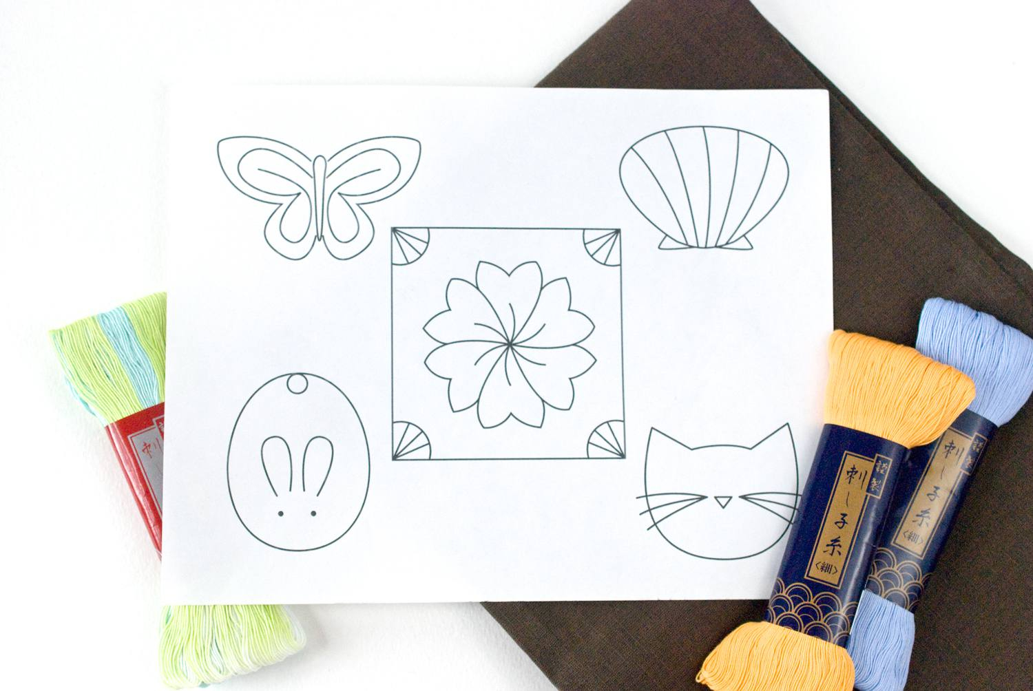 Paper Embroidery Cards Free Patterns Simple Single Patterns For Sashiko Embroidery