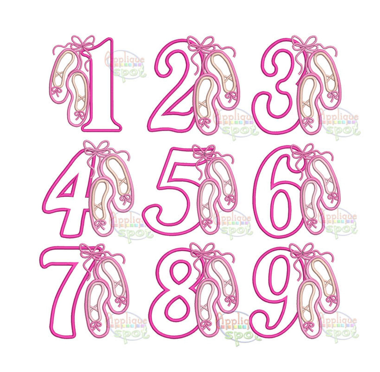 Patterns For Embroidery Machine Ballet Numbers Birthday Ba Girl 4x4 5x7 6x10 Applique Design