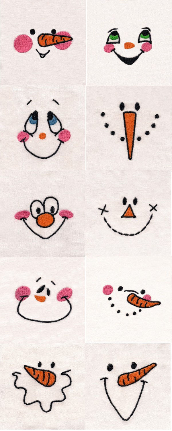 Patterns For Embroidery Machine Machine Embroidery Designs Snowman Faces Set